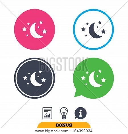 Moon and stars icon. Sleep dreams symbol. Night or bed time sign. Report document, information sign and light bulb icons. Vector