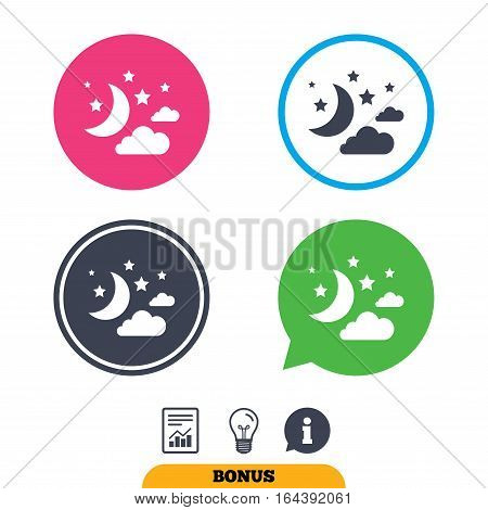 Moon, clouds and stars icon. Sleep dreams symbol. Night or bed time sign. Report document, information sign and light bulb icons. Vector