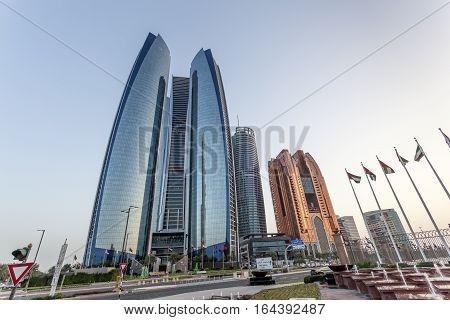 ABU DHABI UAE - NOV 26 2016: The Etihad Towers in the city of Abu Dhabi United Arab Emirates