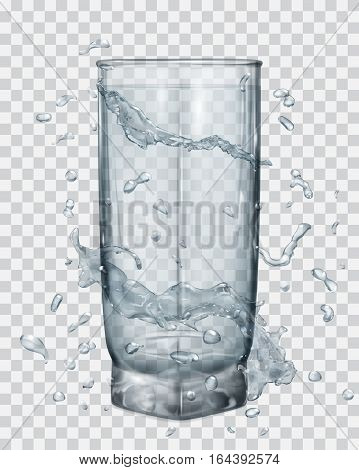 Water Splashes In Gray Colors Around A Transparent Glass With Water