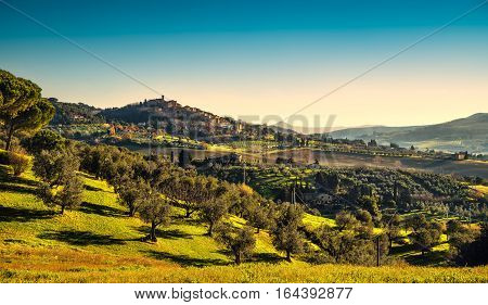 Casale Marittimo village and countryside landscape in Maremma. Pisa Tuscany Italy Europe.