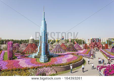 DUBAI UAE - NOV 27 2016: Burj Khalifa and millions of flowers at the Miracle Garden in Dubai. United Arab Emirates Middle East
