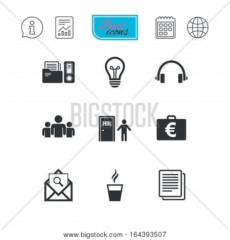 Office, documents and business icons. Accounting, human resources and group signs. Mail, ideas and money case symbols. Report document, calendar and information web icons. Vector