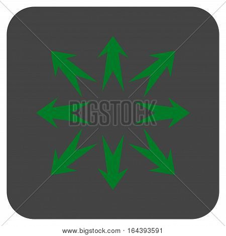 Expand Arrows glyph icon. Image style is a flat icon symbol inside a rounded square button green and gray colors.