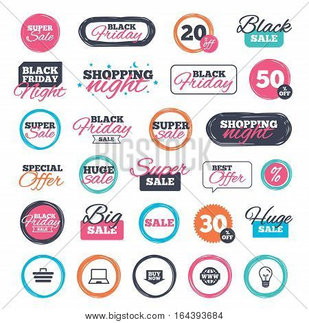 Sale shopping stickers and banners. Online shopping icons. Notebook pc, shopping cart, buy now arrow and internet signs. WWW globe symbol. Website badges. Black friday. Vector