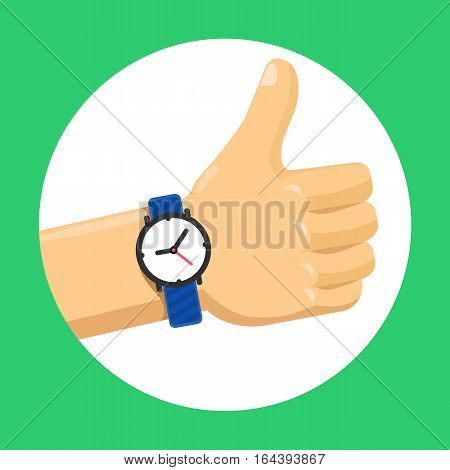 Thumbs up hand flat color vector icon with clock, OK finger sign vector in white circle