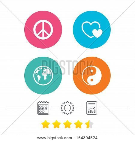 World globe icon. Ying yang sign. Hearts love sign. Peace hope. Harmony and balance symbol. Calendar, cogwheel and report linear icons. Star vote ranking. Vector