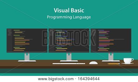 Illustration of Visual Basic programming language code displayed on three monitor in a row at programmer workspace vector
