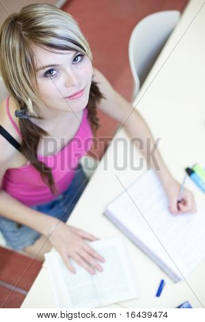Portrait of a pretty young college student in a classroom (selective focus; color toned image)