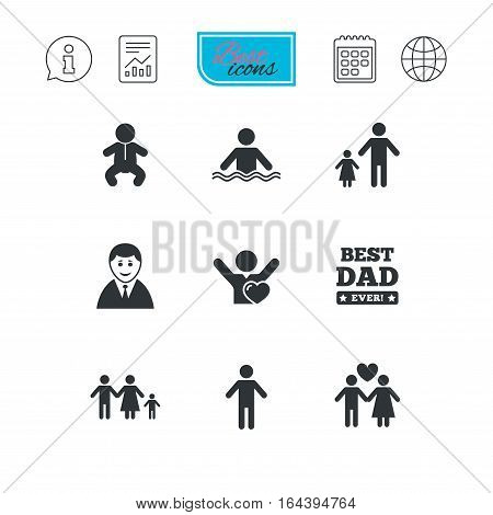 People, family icons. Swimming pool, love and children signs. Best dad, father and mother symbols. Report document, calendar and information web icons. Vector