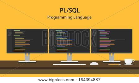 Illustration of PL SQL programming language code displayed on three monitor in a row at programmer workspace vector