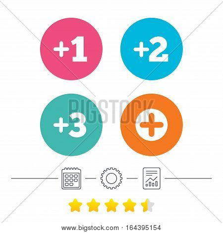 Plus icons. Positive symbol. Add one, two, three and four more sign. Calendar, cogwheel and report linear icons. Star vote ranking. Vector
