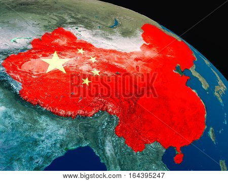 Flag Of China From Space