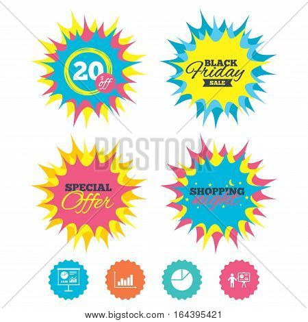 Shopping night, black friday stickers. Diagram graph Pie chart icon. Presentation billboard symbol. Supply and demand. Man standing with pointer. Special offer. Vector