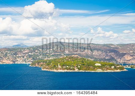 Cote d'Azur France. Beautiful panoramic aerial view city of Nice, France. Luxury resort of French riviera. View from the helicopter