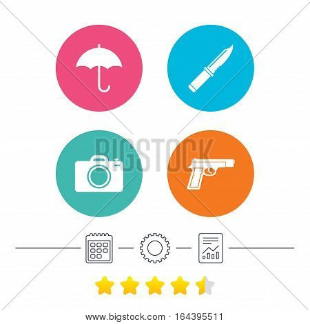 Gun weapon icon.Knife, umbrella and photo camera signs. Edged hunting equipment. Prohibition objects. Calendar, cogwheel and report linear icons. Star vote ranking. Vector