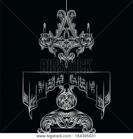 Rich Baroque Table and chandelier set. French Luxury rich carved ornaments decorated furniture. Vector Victorian Royal Style
