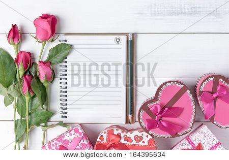 Blank Notebook With Pencil Pink Roses And Heart Gift Box.