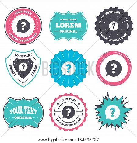 Label and badge templates. Question mark sign icon. Help speech bubble symbol. FAQ sign. Retro style banners, emblems. Vector