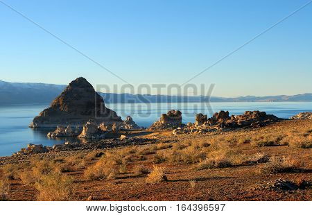 Pyramid Lake, Nevada. Pyramid Is A Tufa Rock Formation.