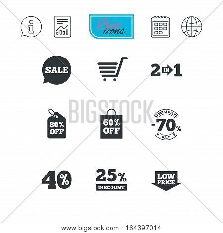 Sale discounts icon. Shopping cart, coupon and low price signs. 25, 40 and 60 percent off. Special offer symbols. Report document, calendar and information web icons. Vector