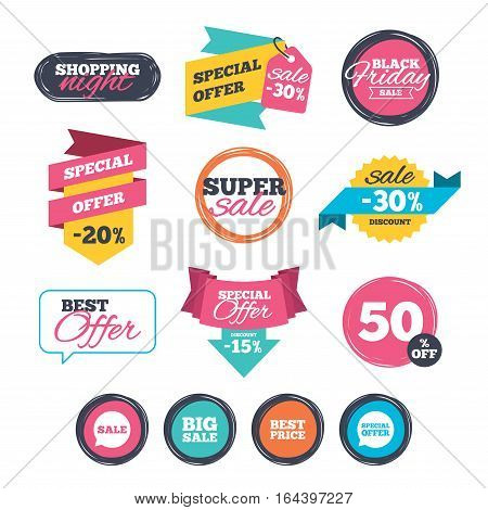 Sale stickers, online shopping. Sale icons. Special offer speech bubbles symbols. Big sale and best price shopping signs. Website badges. Black friday. Vector