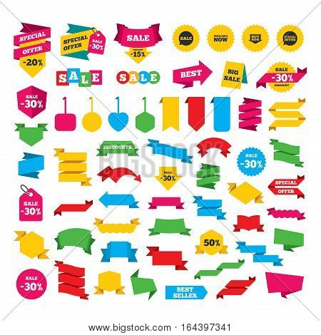 Web stickers, banners and labels. Sale icons. Special offer speech bubbles symbols. Buy now arrow shopping signs. Available now. Special offer tags. Vector