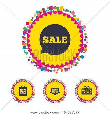 Web buttons with confetti pieces. Sale speech bubble icons. Buy now arrow symbols. Black friday gift box signs. Big sale shopping bag. Bright stylish design. Vector