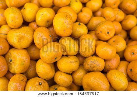 Close up fresh Mandarin orange in market