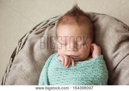 newborn baby sleeps in a basket hairstyle Mohawk