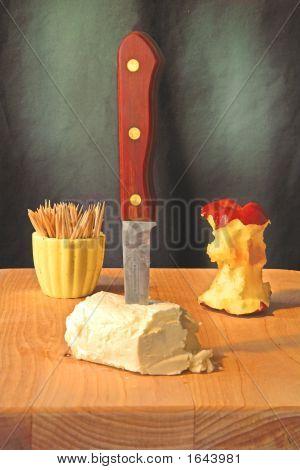 Apple, Cheese, Toothpicks,Knife, Cutting Board