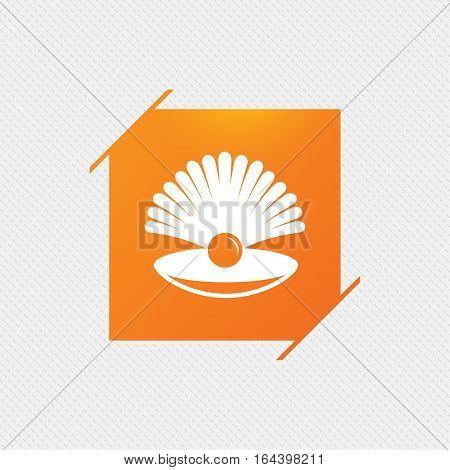 Sea shell with pearl sign icon. Conch symbol. Travel icon. Orange square label on pattern. Vector