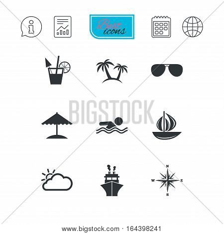 Cruise trip, ship and yacht icons. Travel, cocktails and palm trees signs. Sunglasses, windrose and swimming symbols. Report document, calendar and information web icons. Vector