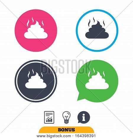 Feces sign icon. Clean up after pets symbol. Put it in the bag. Report document, information sign and light bulb icons. Vector