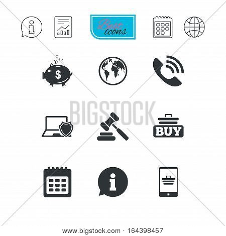 Online shopping, e-commerce and business icons. Auction, phone call and information signs. Piggy bank, calendar and smartphone symbols. Report document, calendar and information web icons. Vector