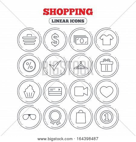 Shopping icons. Shopping cart, dollar currency and cash money. Shirt clothes, gift box and hanger. Credit or debit card. Circle flat buttons with linear icons. Vector