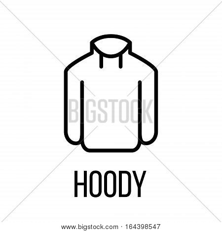 Hoody icon or logo in modern line style. High quality black outline pictogram for web site design and mobile apps. Vector illustration on a white background.