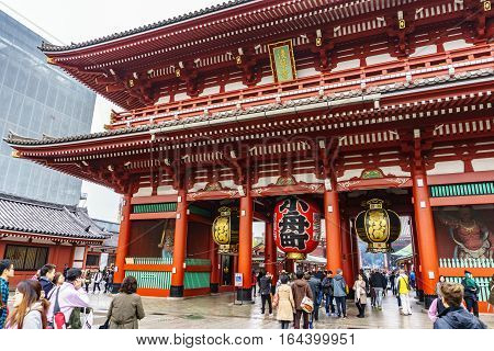 Tokyo Japan - November 19 2016 The Senso-ji Temple in Asakusa Tokyo Japan.The Senso-ji Temple in Asakusa is the most famous temple in tokyo.
