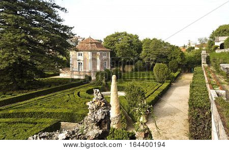 CAXIAS, PORTUGAL - October 26, 2016: View of the french inspired Royal Gardens of Caxias Portugal