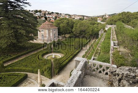 CAXIAS, PORTUGAL - October 26, 2016: View of the french inspired geometric shaped shrubs of boxwood (Buxus sempervirens) in the Royal Gardens of Caxias Portugal