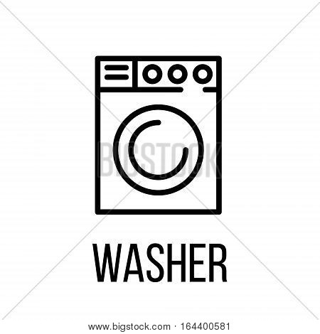 Washer icon or logo in modern line style. High quality black outline pictogram for web site design and mobile apps. Vector illustration on a white background.