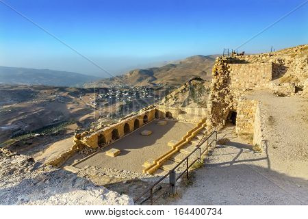 Ancient Crusader Castle View Arabic Fortress Citadel Kerak Jordan. Ancient Crusader Castle built in 1142. Later resisted attacks by Saladin but finally fell in 1188.
