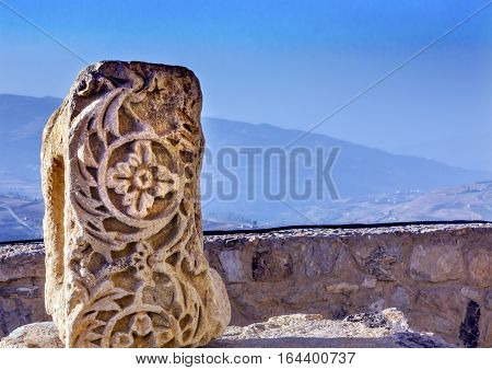 Ancient Crusader Castle Decoration Stone View Arabic Fortress Citadel Kerak Jordan. AncientCrusader Castle built in 1142. Later resisted attacks by Saladin but finally fell in 1188.