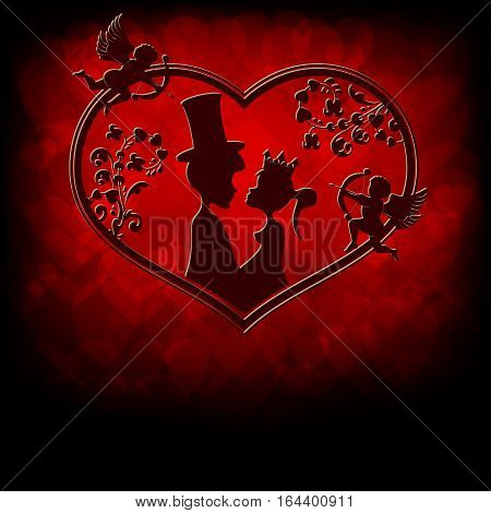 Design of silhouettes of the lovers of the Prince and Princess snuggled up to each other with cupids