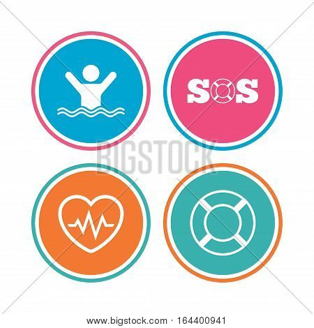 SOS lifebuoy icon. Heartbeat cardiogram symbol. Swimming sign. Man drowns. Colored circle buttons. Vector