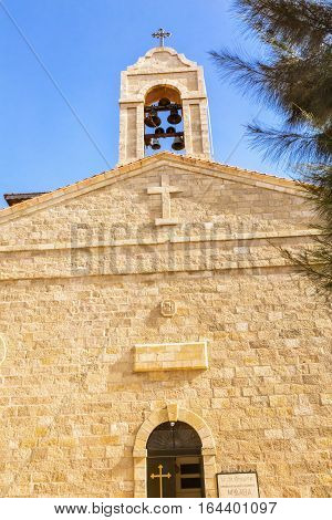 Saint George's Greek Orthodox Church Bell Tower Madaba Jordan. Church was created in the late 1800s and houses many famous mosaics