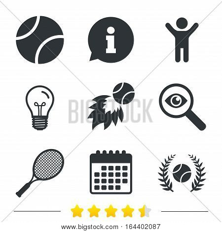Tennis ball and racket icons. Fast fireball sign. Sport laurel wreath winner award symbol. Information, light bulb and calendar icons. Investigate magnifier. Vector