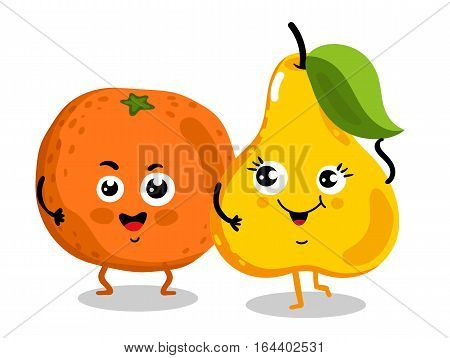 Cute fruit cartoon characters isolated on white background vector illustration. Funny orange and pear emoticon face icon collection. Happy smile cartoon face food emoji, comical fruit mascot set.