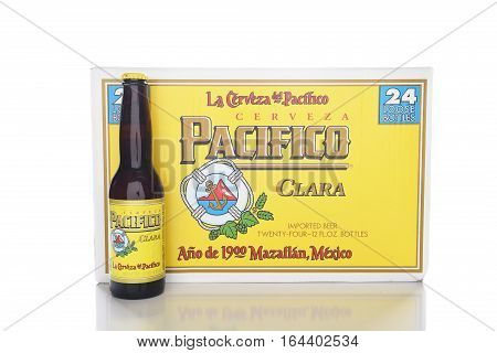 IRVINE CALIFORNIA - JANUARY 8 2017: Pacifico Beer 24 pack. Cerveza Pacifico Clara better known as Pacifico is a Mexican pilsner-style beer brewed in in the Pacific Ocean port city of Mazatlan.