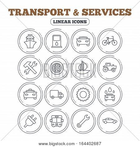 Transport and services icons. Ship, car and public bus, taxi. Repair hammer and wrench key, wheel and cogwheel. Sailboat and bicycle. Circle flat buttons with linear icons. Vector